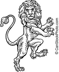 Lion Standing Rampant On Hind Legs - A lion standing rampant...