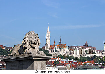Lion statue and Fisherman bastion Budapest