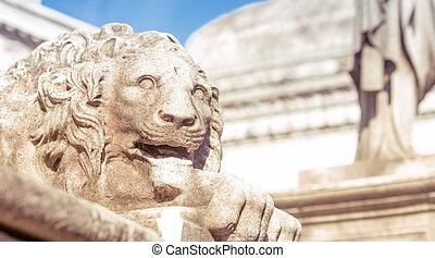 lion, statue, cimetière recoleta