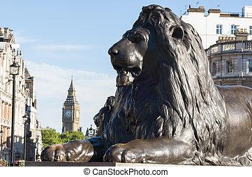 Lion statue - Cropped shot of lion statue in Trafalgar...