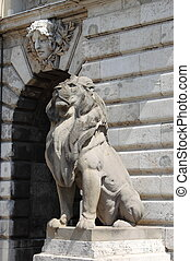 Lion statue in Budapest Royal Palace
