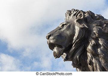 Lion statue in London, UK