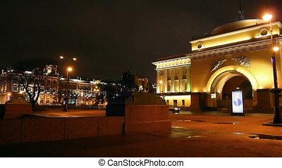 lion statue near hermitage in Saint Petersburg at night