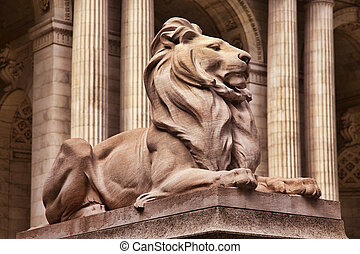 lion statue - New York City Public Library Exterior with...
