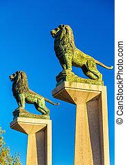 Lion statues at the Stone Bridge in Zaragoza, Spain