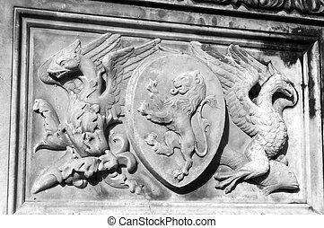 Lion stone detail