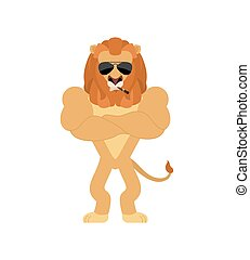 Lion Strong Cool serious. Wild animal smoking cigar emoji. beast strict. Vector illustration