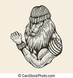 lion strong smoke hand drawn vector illustration