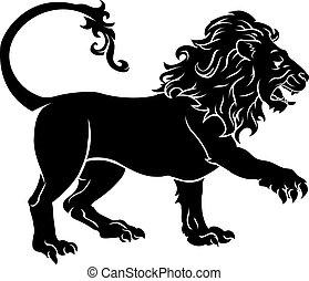 lion, stylisé, illustration