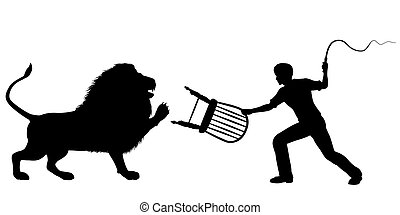 Lion tamer - Editable vector silhouette of a lion-taming man...