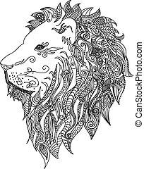 lion., tatuaje, mehndi, style., doodles