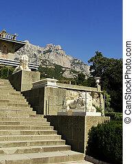 Lion terrace, Vorontsov palace, Alupka, Crimea, Ukraine