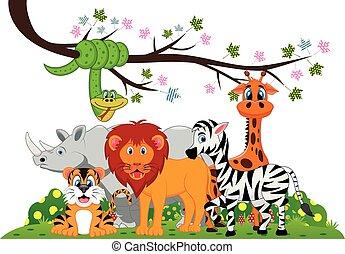 Lion, tiger, zebra, rhino, snake