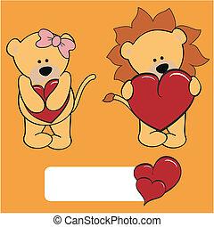 lion valentine cartoon girl and boy