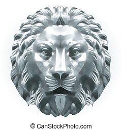 lion., vecteur, argent