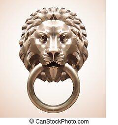 lion., vecteur, knocker porte