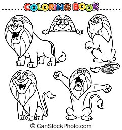 Lion - Cartoon Coloring Book - Lion