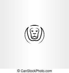 lion vector icon black line symbol