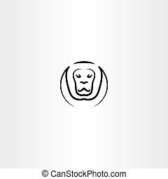 lion vector icon black line symbol