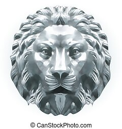 lion., vektor, silber