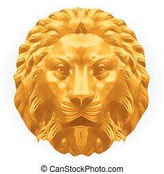 lion., vetorial, prata