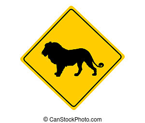 Lion warning sign