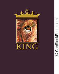 lion., wektor, tło., eps8