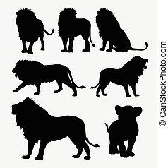 Lion wild animal silhouettes