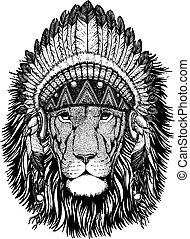 Lion Wild animal wearing inidan headdress with feathers....