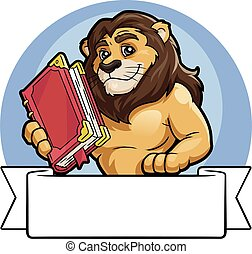 Lion with a big book