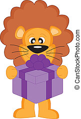 Lion with a gift.