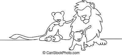 Lion with a mane lying. Continuous one line drawing.