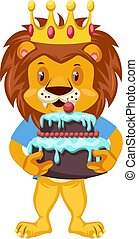 Lion with birthday cake, illustration, vector on white background.