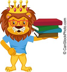 Lion with books, illustration, vector on white background.
