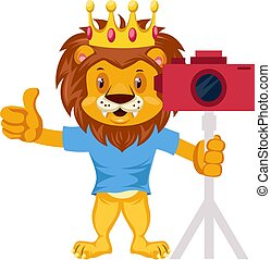 Lion with camera, illustration, vector on white background.