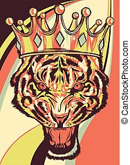 lion with crown colored background vector illustration