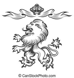 Lion with crown in engraving style