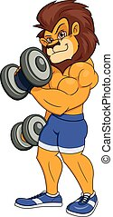 Lion with dumbbells