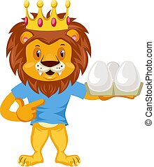 Lion with eggs, illustration, vector on white background.