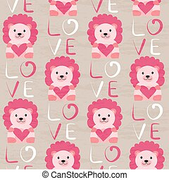 Lion with heart seamless pattern. Hand drawn design for ...