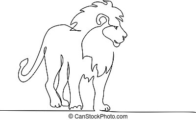 Lion with mane standing. Continuous one line drawing.