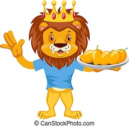Lion with mangos, illustration, vector on white background.