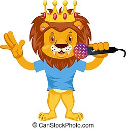 Lion with microphone, illustration, vector on white background.