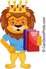 Lion with notebooks, illustration, vector on white background.