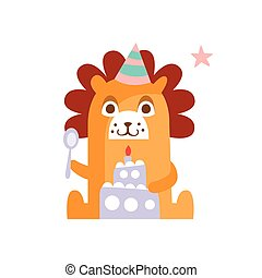 Lion With Party Attributes Girly Stylized Funky Sticker