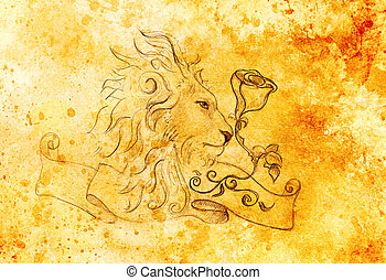 Lion with rose and ribbon with ornament, original hand drawing, pencil sketch on paper. Color effect.