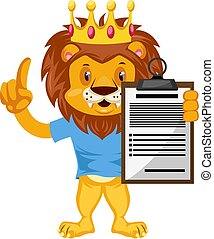 Lion with schedule, illustration, vector on white background.