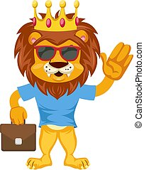Lion with suitcase, illustration, vector on white background.