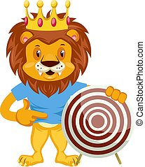 Lion with target, illustration, vector on white background.
