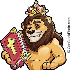 Lion with the Bible on a white background